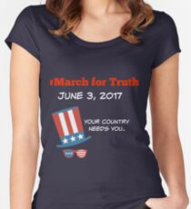 MARCH FOR TRUTH JUNE 3 stars stripes Women's Fitted Scoop T-Shirt