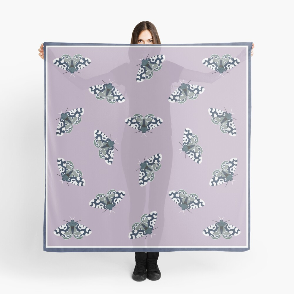 Mod Moths - Navy and Lilac Scarf