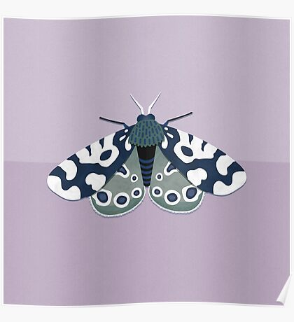 Mod Moths - Navy and Lilac Poster
