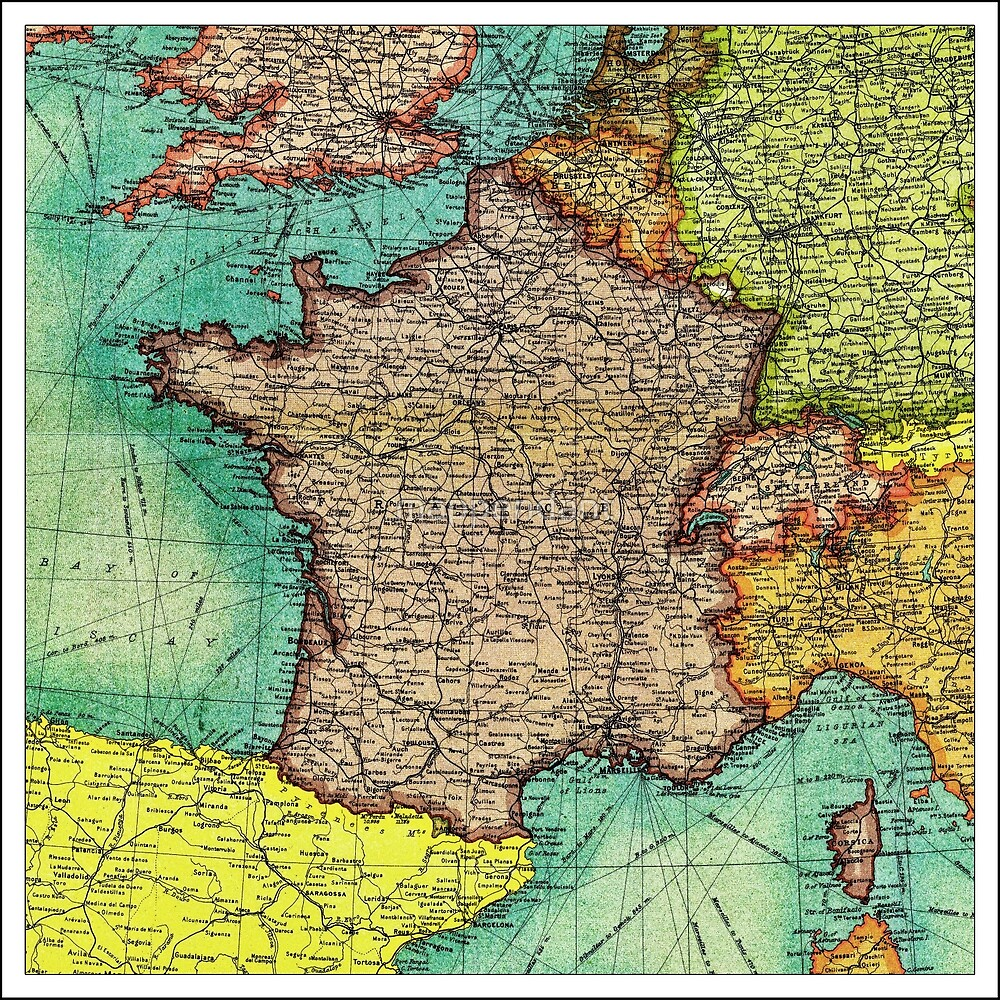 Antique France 1913 map - gift idea\
