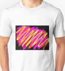 psychedelic geometric polygon abstract in pink yellow orange black Unisex T-Shirt