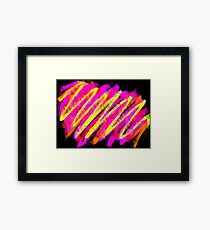 psychedelic geometric polygon abstract in pink yellow orange black Framed Print