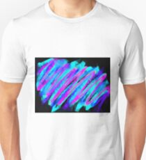 psychedelic geometric polygon abstract in pink blue with black background Unisex T-Shirt