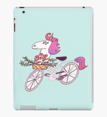 Uni-cycle illustration - unicorn hipster bicycle with flowers watercolor style iPad Case/Skin