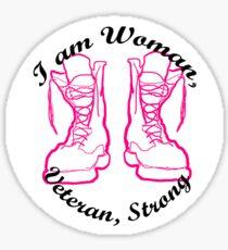 I am Woman, Veteran, Strong Sticker