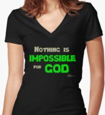 Nothing is impossible for God Women's Fitted V-Neck T-Shirt