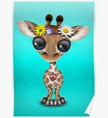 Cute Baby Giraffe Hippie Poster