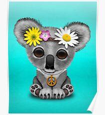 Cute Baby Koala Hippie  Poster