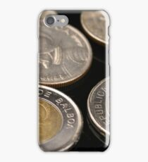 A close up image of panamanian coins on a black background iPhone Case/Skin