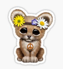 Cute Hippie Lion Cub on Pink Sticker