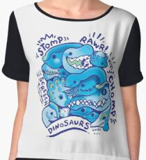 Dino Squad in Blue Women's Chiffon Top