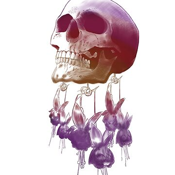 Skull & Hanging Flowers Sunset Outline by mO-Designs