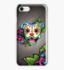 Smiling Pit Bull in White - Day of the Dead Pitbull - Sugar Skull Dog iPhone Case/Skin