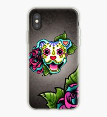 Smiling Pit Bull in White - Day of the Dead Pitbull - Sugar Skull Dog iPhone Case
