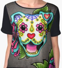 Smiling Pit Bull in White - Day of the Dead Pitbull - Sugar Skull Dog Chiffon Top