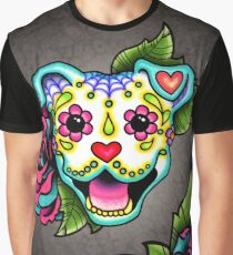 Smiling Pit Bull in White - Day of the Dead Pitbull - Sugar Skull Dog Graphic T-Shirt