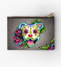 Smiling Pit Bull in White - Day of the Dead Pitbull - Sugar Skull Dog Studio Pouch