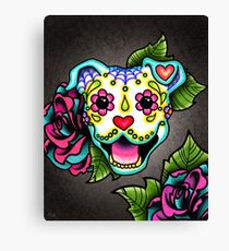 Smiling Pit Bull in White - Day of the Dead Pitbull - Sugar Skull Dog Canvas Print