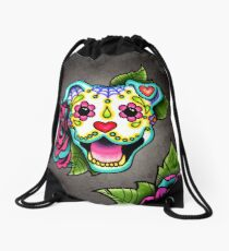 Smiling Pit Bull in White - Day of the Dead Pitbull - Sugar Skull Dog Drawstring Bag