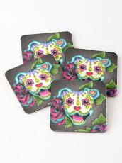 Smiling Pit Bull in White - Day of the Dead Pitbull - Sugar Skull Dog Coasters