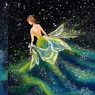 Galaxy Girl Creating a Green Nebula with her Dress by Laura Wilson