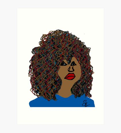 Natural Hair Curly Afro Wavy Curls Red Lips Queen Art Print