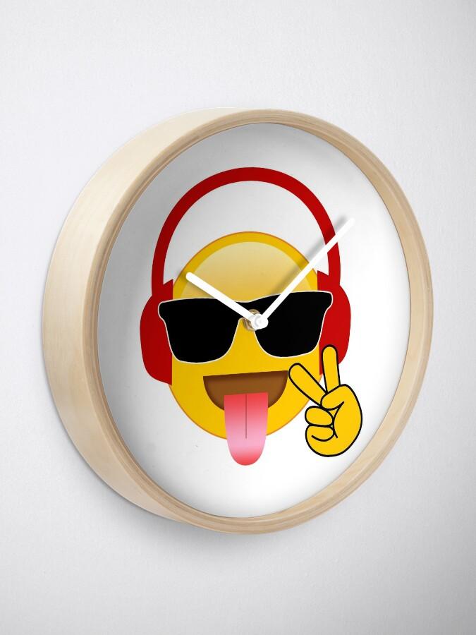 Music DJ Gamer Peace Sign Emoji Wearing Headphones | Clock