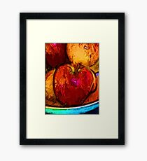 Red Apple and Gold Apples in a Blue Bowl Framed Print