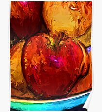 Red Apple and Gold Apples in a Blue Bowl Poster