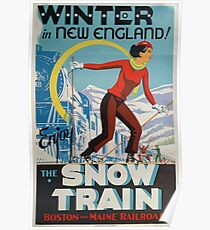 Winter In New England / Enjoy The Snow Train Poster