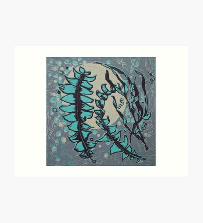 Linocut Banksia Leaves Art Print