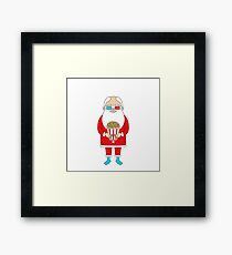 Santa Claus with popcorn and 3D glasses Framed Print