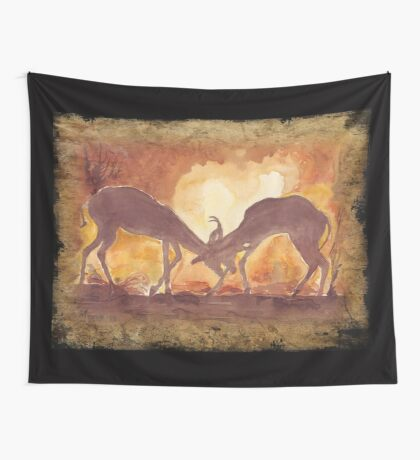 Lodge décor - Territorial Dance in the African sunset Wall Tapestry