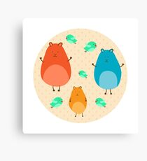 Cartoon funny hamsters Canvas Print