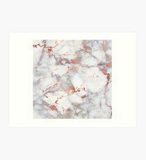 Rose Gold Glitter White Marble Art Print