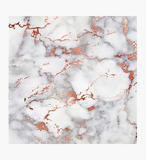 Rose Gold Glitter White Marble Photographic Print