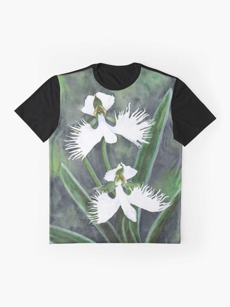 Alternative Ansicht von Weiße Reiher Orchideenblüten (Habenaria Radiata) Grafik T-Shirt