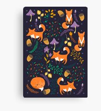 Foxes in the magic forest Canvas Print