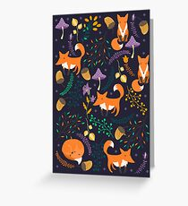 Foxes in the magic forest Greeting Card