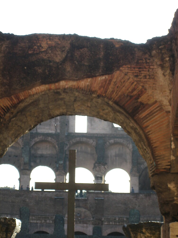 The cross in the Colloseum at Rome by Marichelle