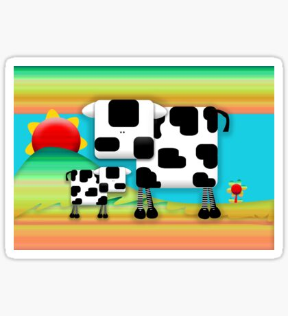 Moo Cow Sunrise Family Sticker