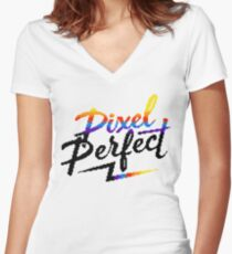 Pixel Perfect Women's Fitted V-Neck T-Shirt