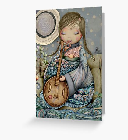 Moon Guitar Greeting Card