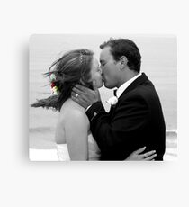 Bride and Groom Kiss Canvas Print