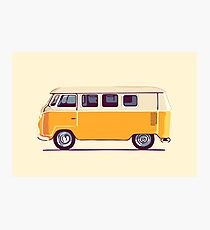 Yellow Vintage Volkswagen Bus Photographic Print
