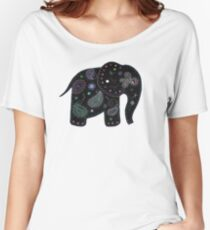 black embroidered elephant Women's Relaxed Fit T-Shirt