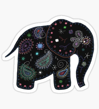 black embroidered elephant Sticker