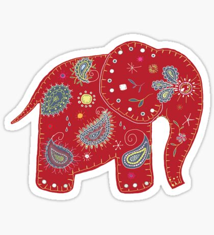 Red embroidered elephant Sticker