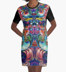 Orphan Child with Flowers Graphic T-Shirt Dress