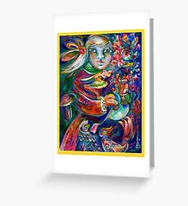 Orphan Child with Flowers Greeting Card